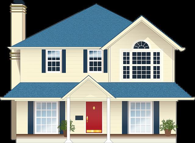 bílomodrý rodinný dům